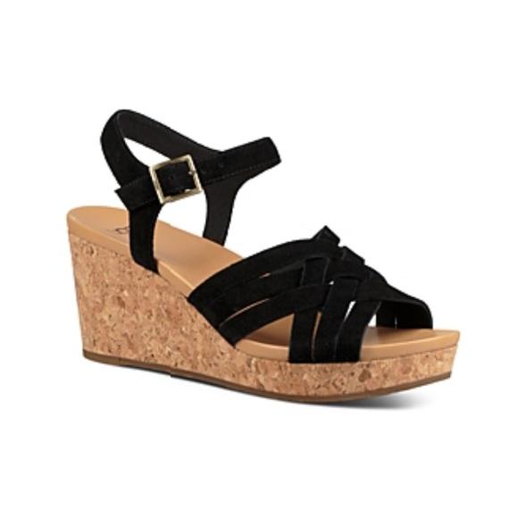 UGG Shoes   Black Suede Wedges Sandals